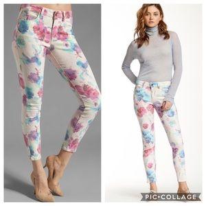 Joe's Jeans Floral Ink Rose Skinny Ankle Jeans